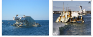 Figure 2: The Mk1 while in operation (left) and the wreckage that remains today (right) (Illawarra Mercury)