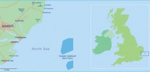 Location of Greater Gabbard Wind Farm Image courtesy of SSE (Scottish and Southern Energy)