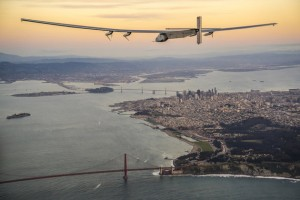 """""""Solar Impulse 2"""", a solar-powered plane piloted by Bertrand Piccard of Switzerland, flies over the Golden Gate bridge in San Francisco, California, U.S. April 23, 2016, before landing on Moffett Airfield following a 62-hour flight from Hawaii. Jean Revillard/Solar Impulse/Handout via REUTERS ATTENTION EDITORS - THIS IMAGE WAS PROVIDED BY A THIRD PARTY. EDITORIAL USE ONLY."""