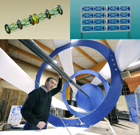 Ocean Renewable Power Company's OCGen Power System, consisting of helical turbines, top left, stacked together and moored off the seafloor in a tide engine module, top right. (ORPC) At bottom, John Ferland, vice president of project development with ORPC, stands inside one of its all-composite turbines in Feb. 2010. (Gregory Rec/Portland Press Herald ©)