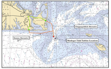 Proposed subsea cable routes from Muskeget Tidal turbine to the nearest grid connection, 5.5 km away in Edgartown, Mass. (HMMH Inc. / Muskeget Channel Tidal Energy Project, FERC Project No. 1301 Draft Pilot License Application)